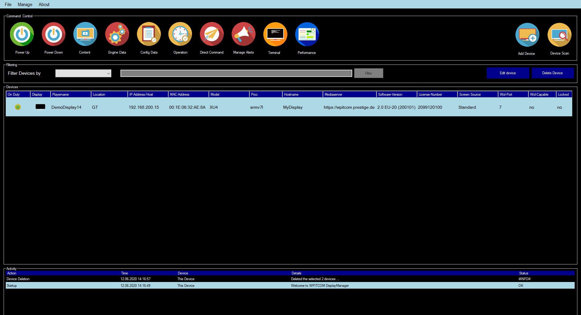 WPITCOM Display Manager 2 Start Screen