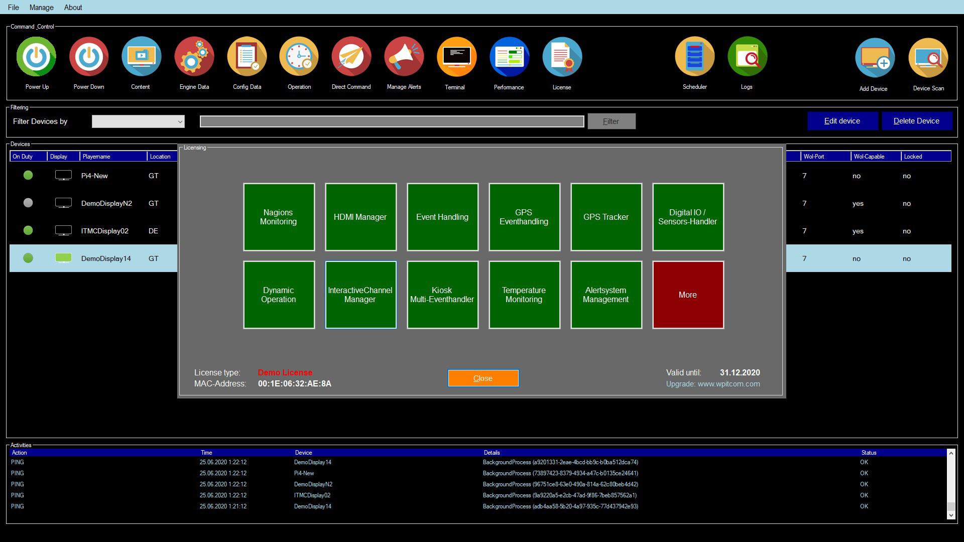 WPITCOM Display Manager Licensing Information